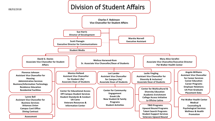Division of Student Affairs organizational flow chart.